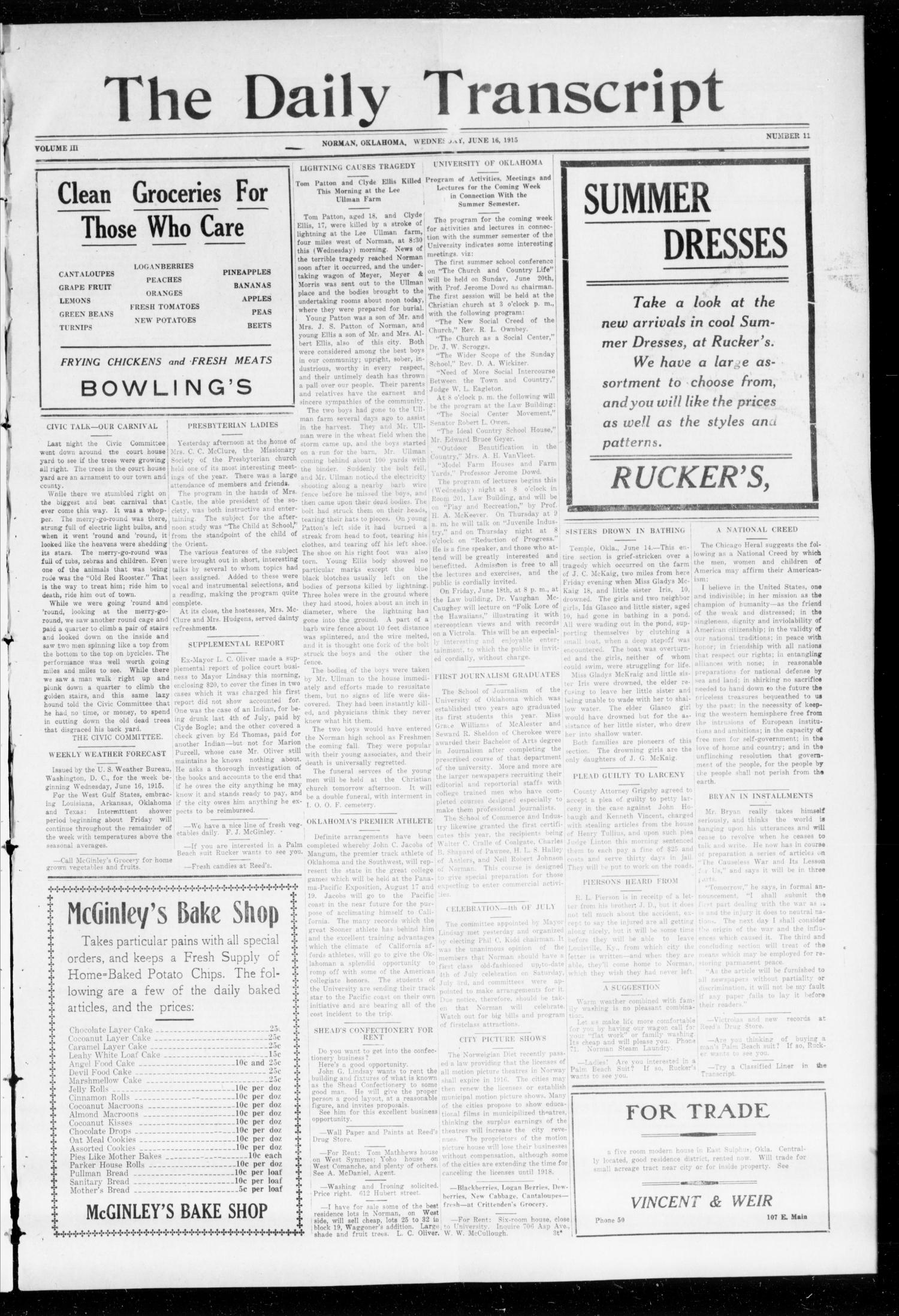 The Daily Transcript  (Norman, Okla.), Vol. 1, No. 11, Ed. 1 Wednesday, June 16, 1915                                                                                                      [Sequence #]: 1 of 4