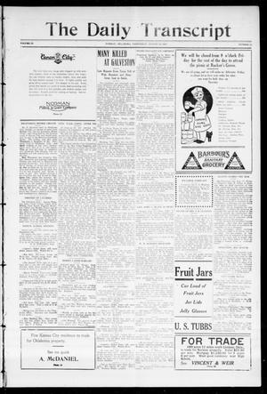 Primary view of object titled 'The Daily Transcript  (Norman, Okla.), Vol. 3, No. 56, Ed. 1 Wednesday, August 18, 1915'.