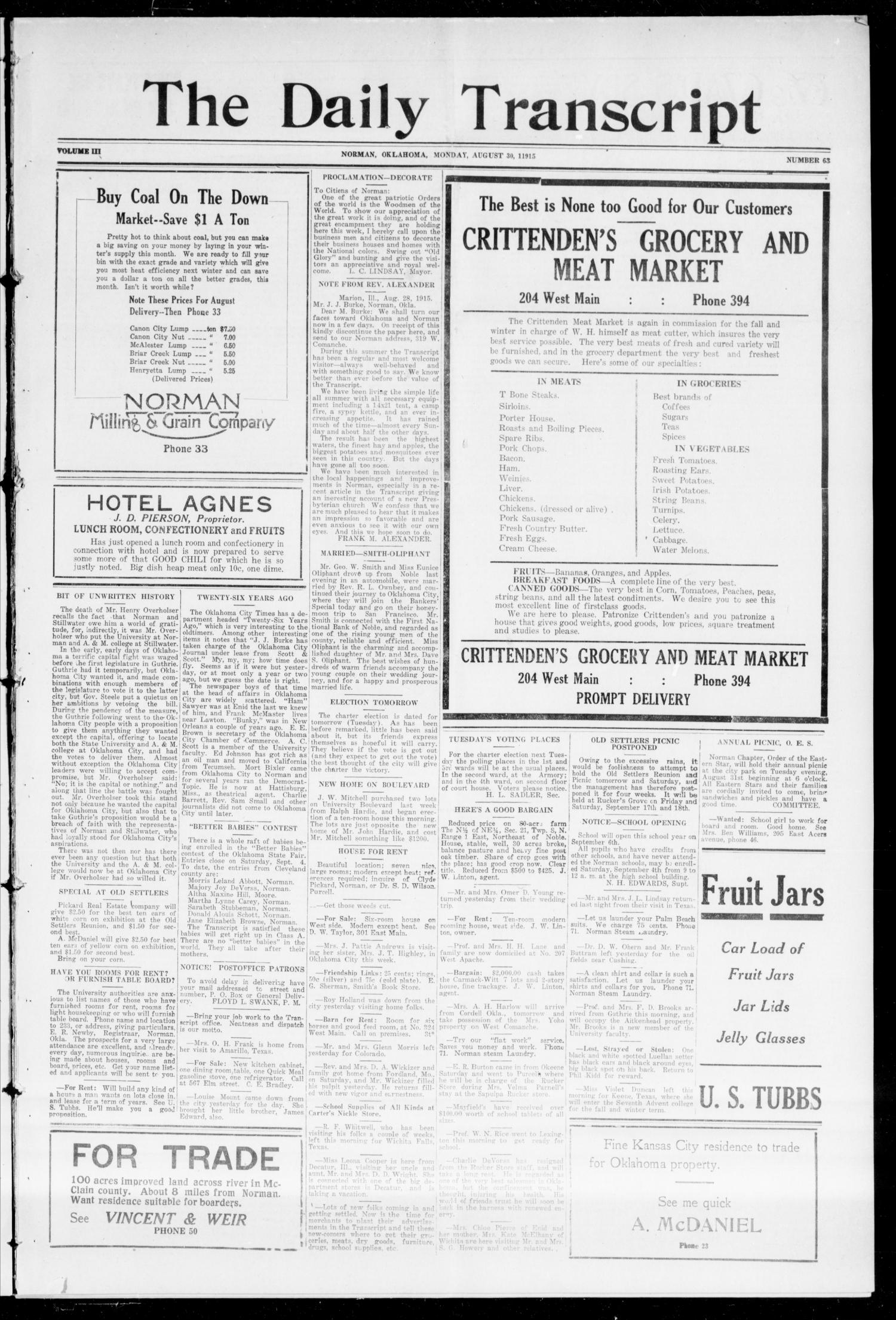 The Daily Transcript  (Norman, Okla.), Vol. 3, No. 63, Ed. 1 Monday, August 30, 1915                                                                                                      [Sequence #]: 1 of 4