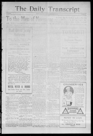 Primary view of object titled 'The Daily Transcript  (Norman, Okla.), Vol. 3, No. 82, Ed. 1 Saturday, September 25, 1915'.