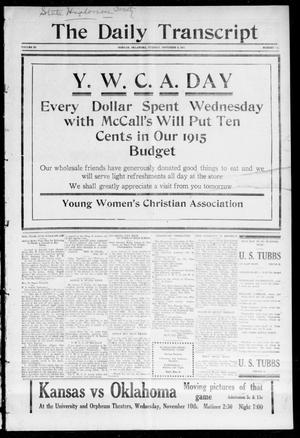 Primary view of object titled 'The Daily Transcript  (Norman, Okla.), Vol. 3, No. 111, Ed. 1 Wednesday, November 10, 1915'.