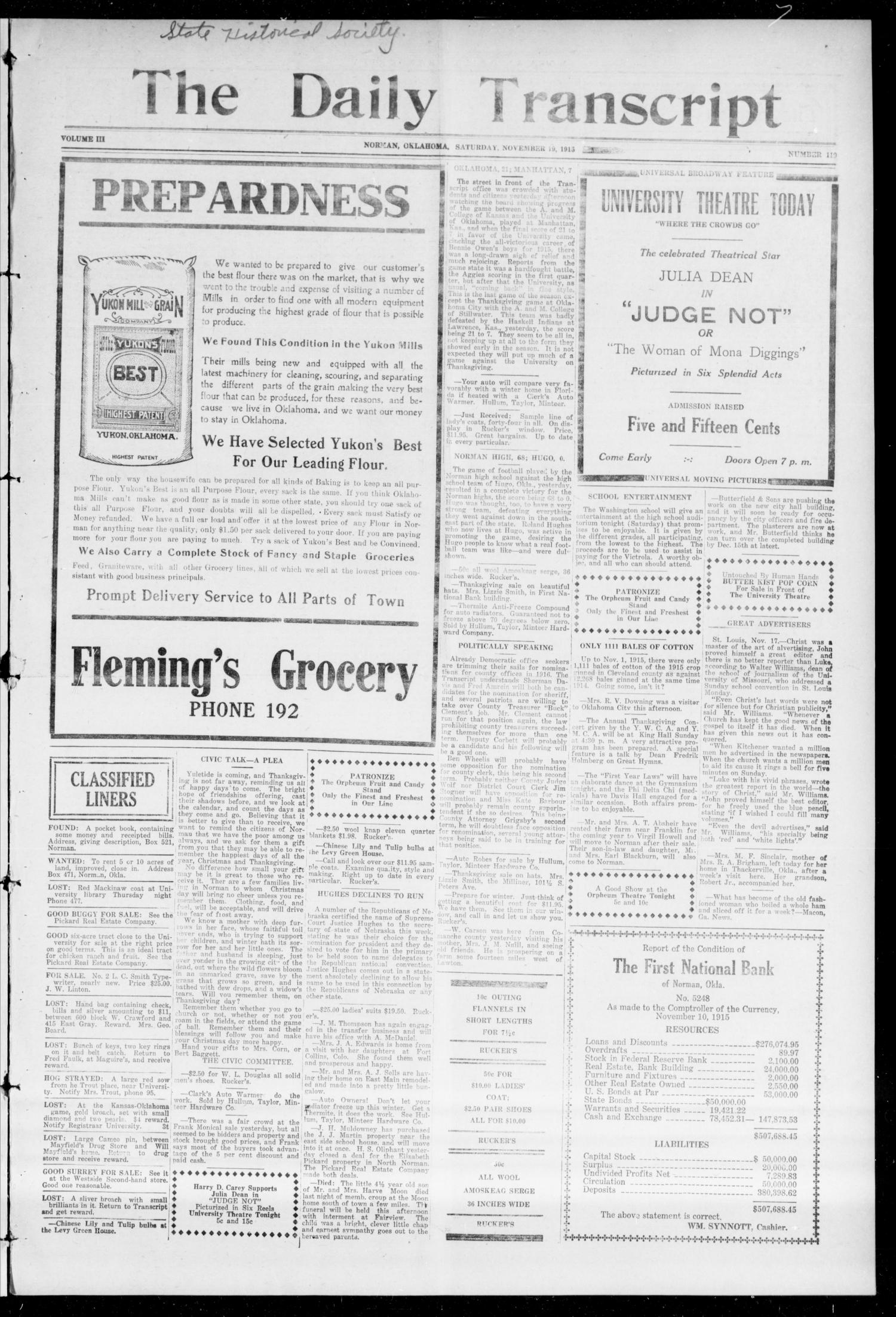 The Daily Transcript  (Norman, Okla.), Vol. 3, No. 119, Ed. 1 Sunday, November 21, 1915                                                                                                      [Sequence #]: 1 of 4