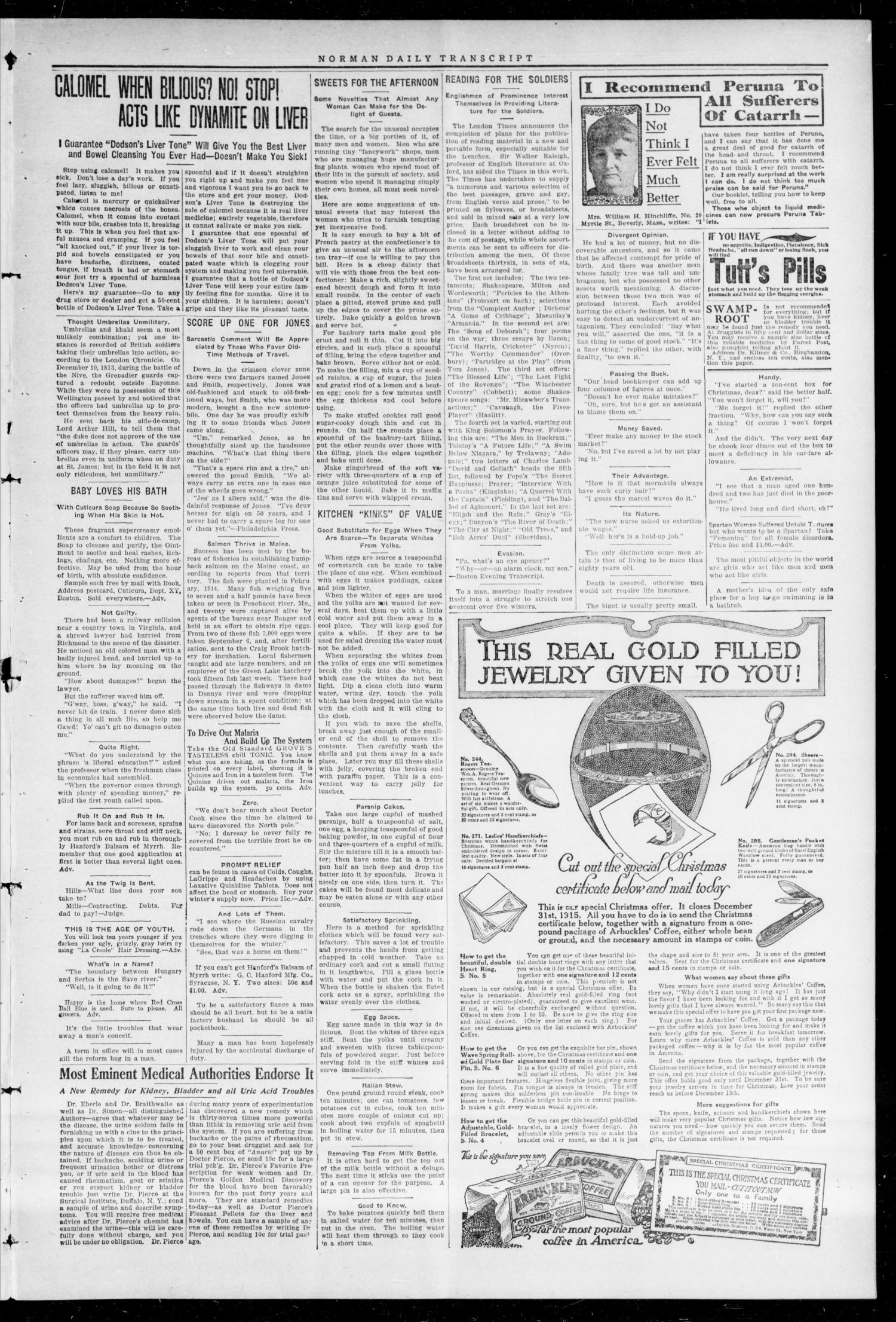 The Daily Transcript  (Norman, Okla.), Vol. 3, No. 119, Ed. 1 Sunday, November 21, 1915                                                                                                      [Sequence #]: 3 of 4