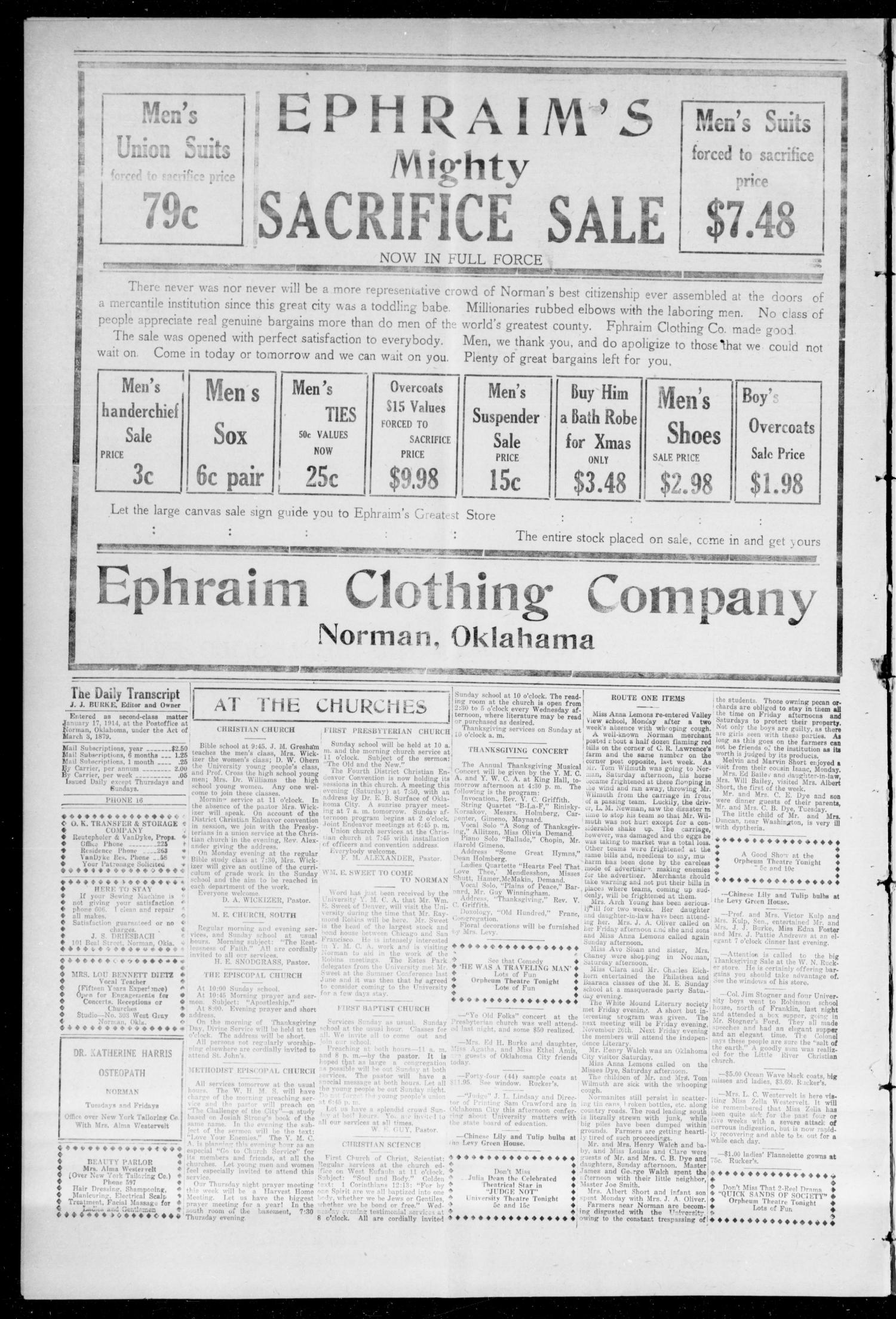 The Daily Transcript  (Norman, Okla.), Vol. 3, No. 119, Ed. 1 Sunday, November 21, 1915                                                                                                      [Sequence #]: 4 of 4
