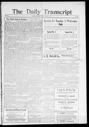 Primary view of object titled 'The Daily Transcript  (Norman, Okla.), Vol. 3, No. 164, Ed. 1 Tuesday, January 25, 1916'.