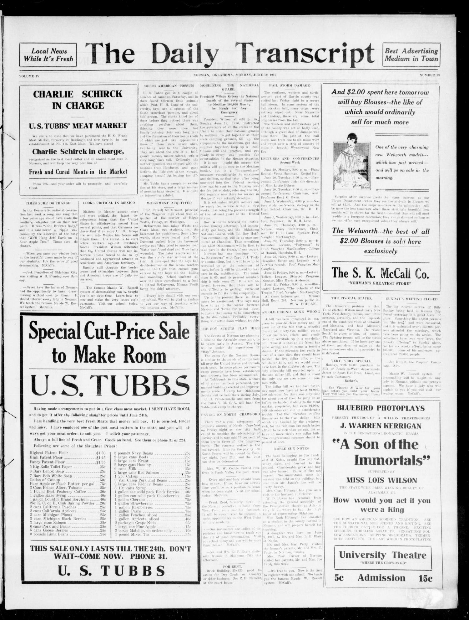 The Daily Transcript  (Norman, Okla.), Vol. 4, No. 13, Ed. 1 Tuesday, June 20, 1916                                                                                                      [Sequence #]: 1 of 4