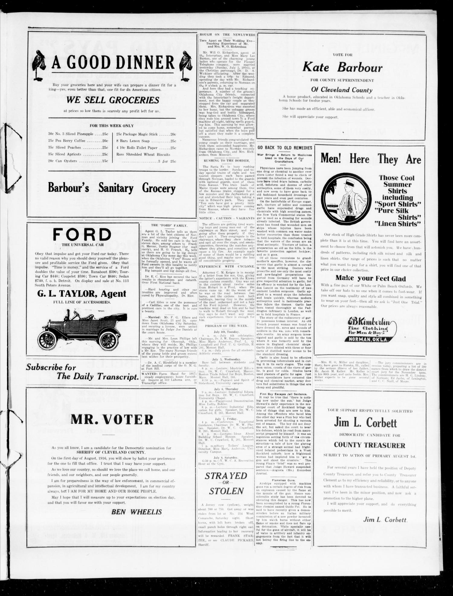 The Daily Transcript  (Norman, Okla.), Vol. 4, No. 24, Ed. 1 Wednesday, July 5, 1916                                                                                                      [Sequence #]: 3 of 6