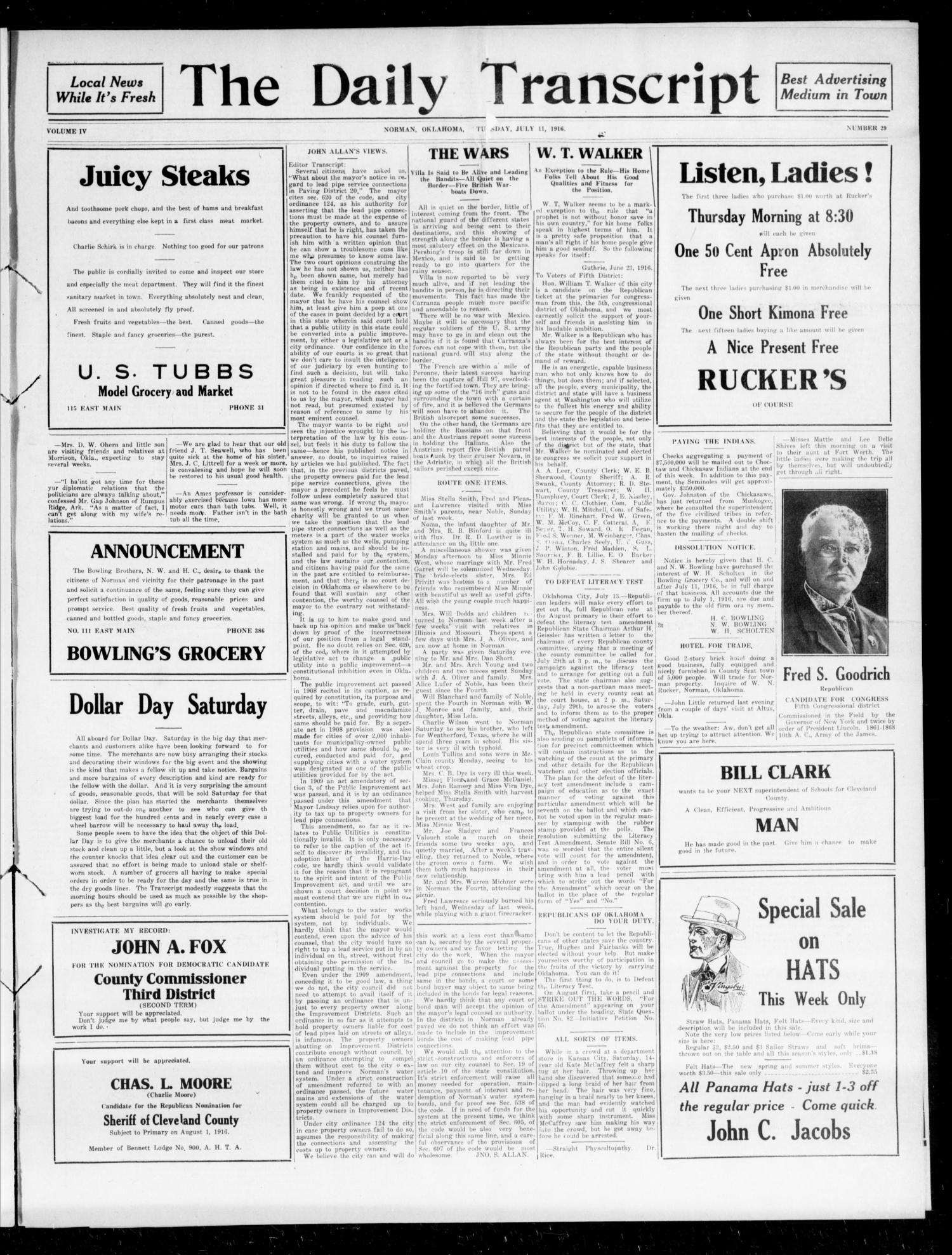 The Daily Transcript  (Norman, Okla.), Vol. 4, No. 29, Ed. 1 Wednesday, July 12, 1916                                                                                                      [Sequence #]: 1 of 4