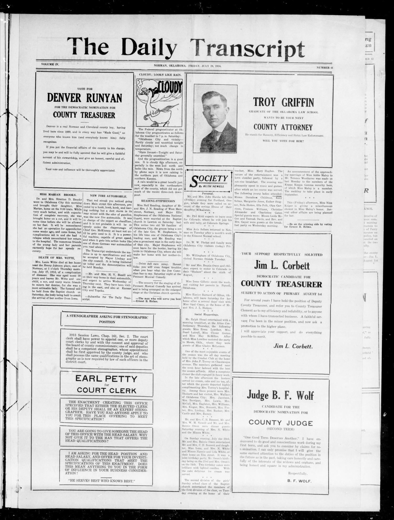 The Daily Transcript  (Norman, Okla.), Vol. 4, No. 41, Ed. 1 Saturday, July 29, 1916                                                                                                      [Sequence #]: 1 of 6