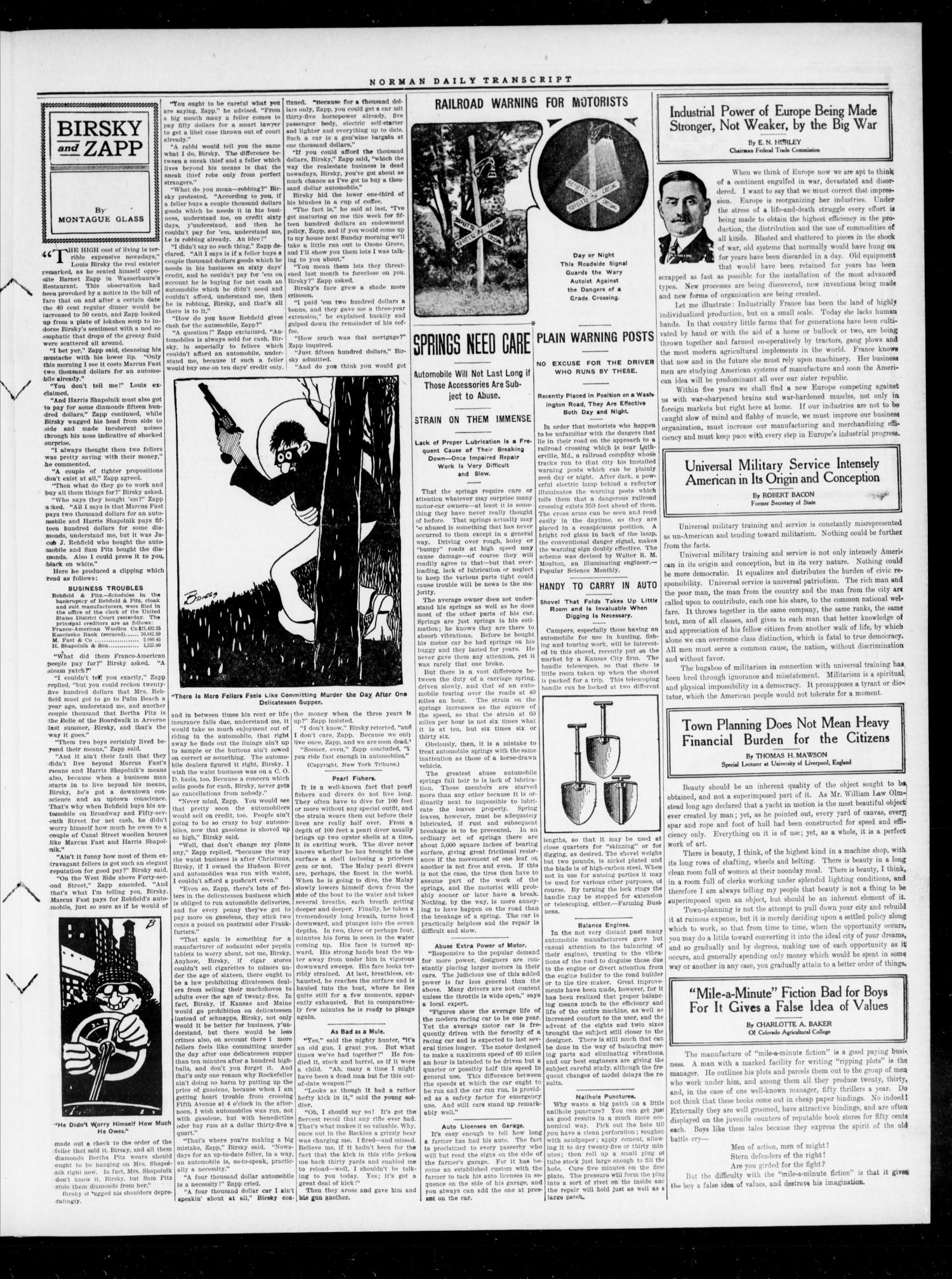 The Daily Transcript  (Norman, Okla.), Vol. 4, No. 132, Ed. 1 Monday, December 4, 1916                                                                                                      [Sequence #]: 3 of 4
