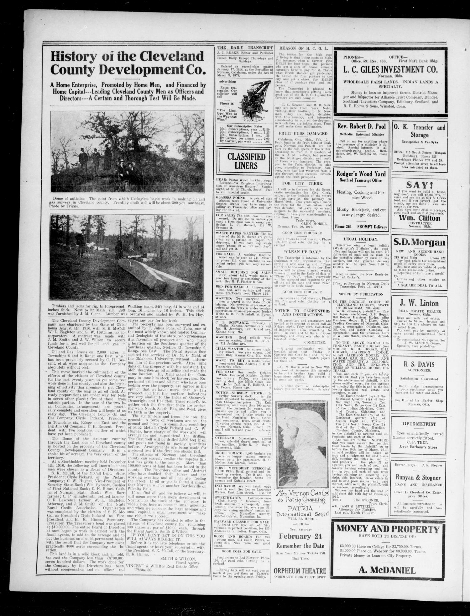 The Daily Transcript  (Norman, Okla.), Vol. 4, No. 189, Ed. 1 Wednesday, February 21, 1917                                                                                                      [Sequence #]: 4 of 4