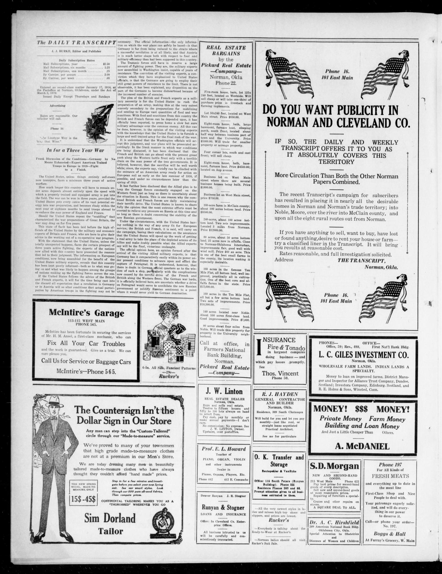 The Daily Transcript  (Norman, Okla.), Vol. 4, No. 238, Ed. 1 Saturday, April 28, 1917                                                                                                      [Sequence #]: 2 of 4