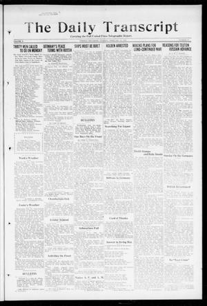 Primary view of object titled 'The Daily Transcript  (Norman, Okla.), Vol. 5, No. 217, Ed. 1 Tuesday, February 19, 1918'.