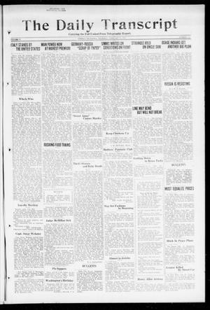 Primary view of object titled 'The Daily Transcript  (Norman, Okla.), Vol. 5, No. 219, Ed. 1 Thursday, February 21, 1918'.