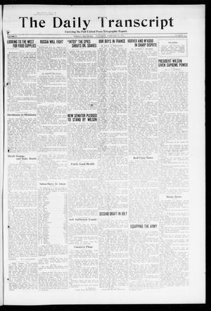 Primary view of object titled 'The Daily Transcript  (Norman, Okla.), Vol. 5, No. 221, Ed. 1 Saturday, February 23, 1918'.