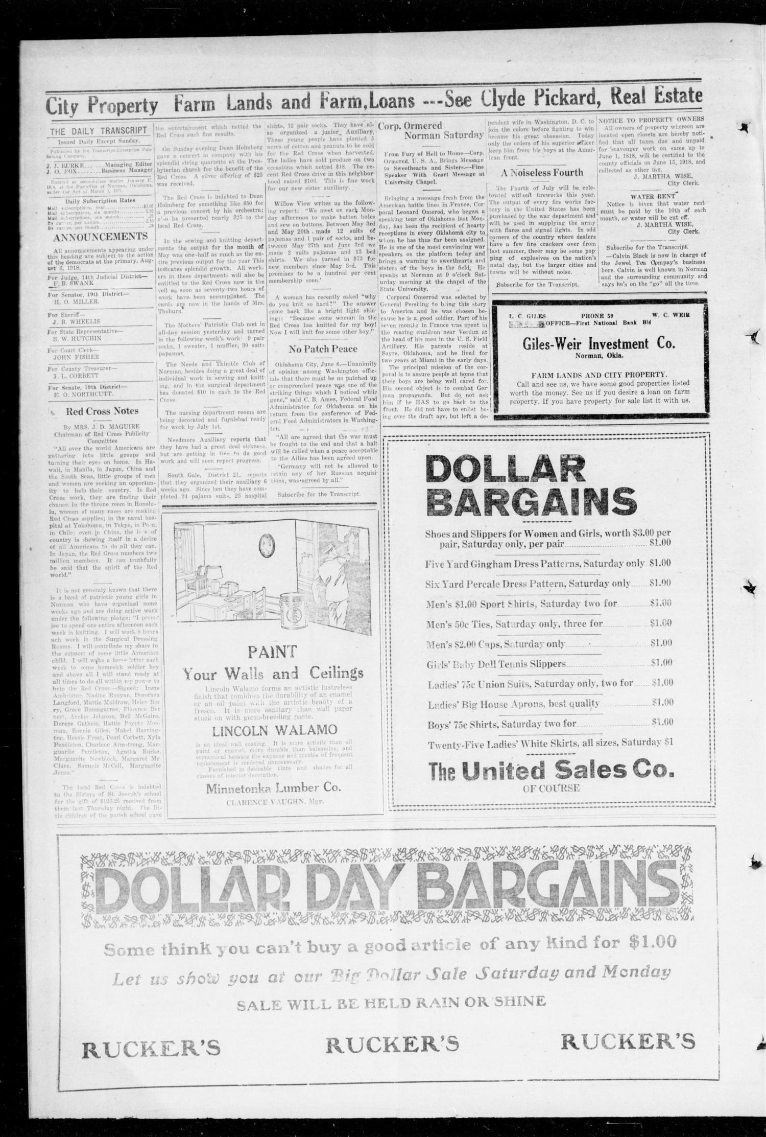 The Daily Transcript  (Norman, Okla.), Vol. 6, No. 64, Ed. 1 Friday, June 7, 1918                                                                                                      [Sequence #]: 2 of 4