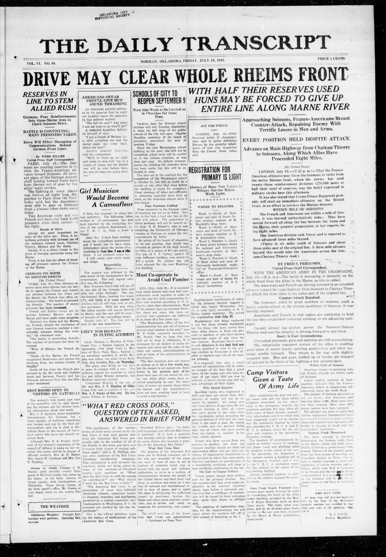 The Daily Transcript  (Norman, Okla.), Vol. 6, No. 99, Ed. 1 Friday, July 19, 1918                                                                                                      [Sequence #]: 1 of 4