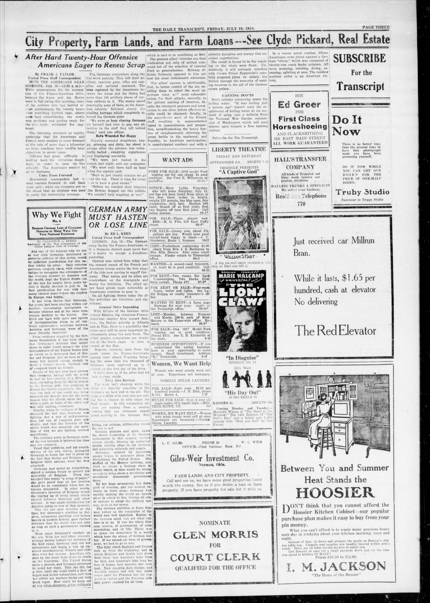 The Daily Transcript  (Norman, Okla.), Vol. 6, No. 99, Ed. 1 Friday, July 19, 1918                                                                                                      [Sequence #]: 3 of 4