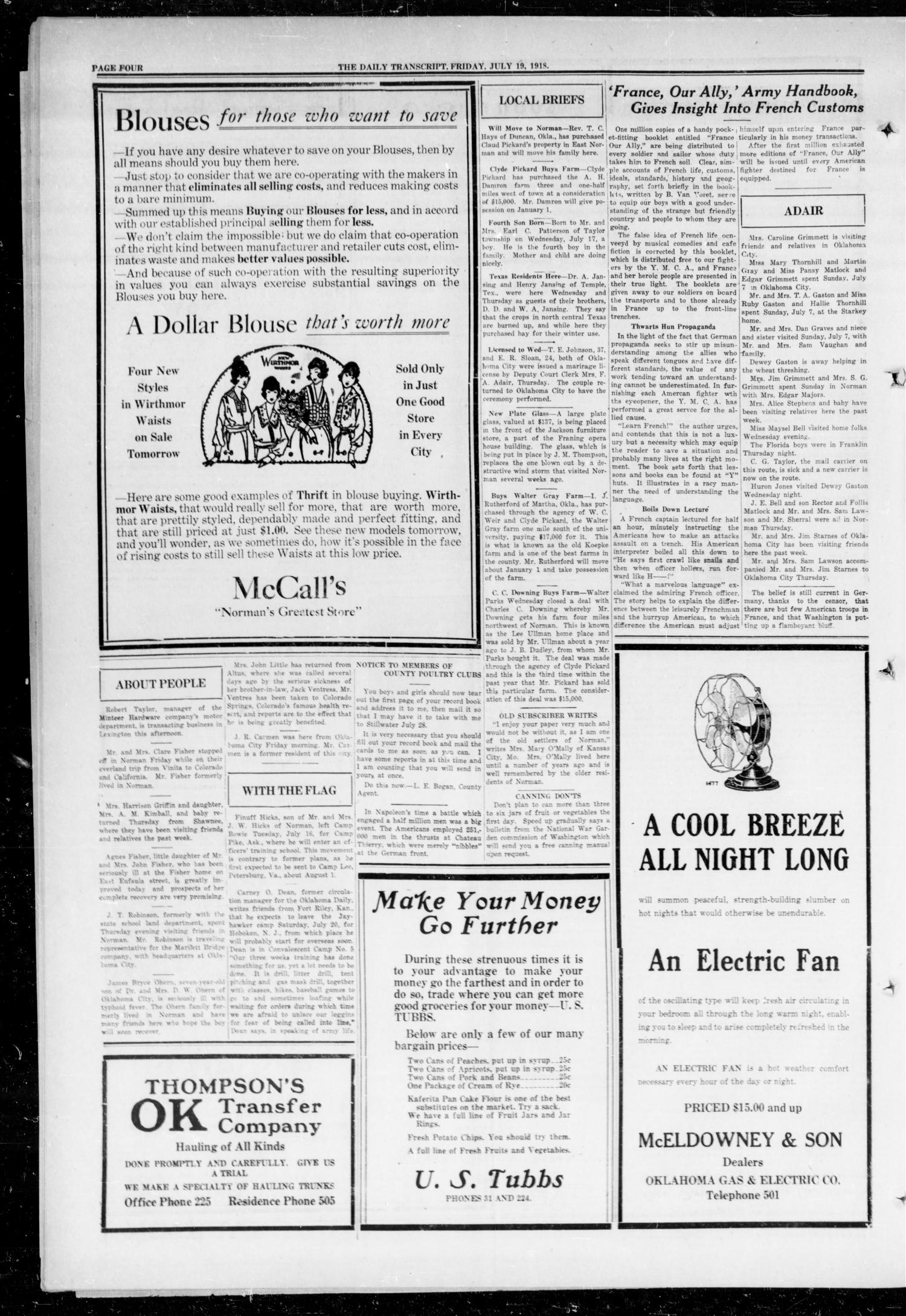 The Daily Transcript  (Norman, Okla.), Vol. 6, No. 99, Ed. 1 Friday, July 19, 1918                                                                                                      [Sequence #]: 4 of 4