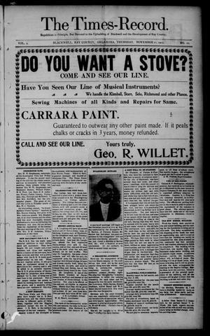 Primary view of The Times-Record. (Blackwell, Okla.), Vol. 9, No. 10, Ed. 1 Thursday, November 21, 1901
