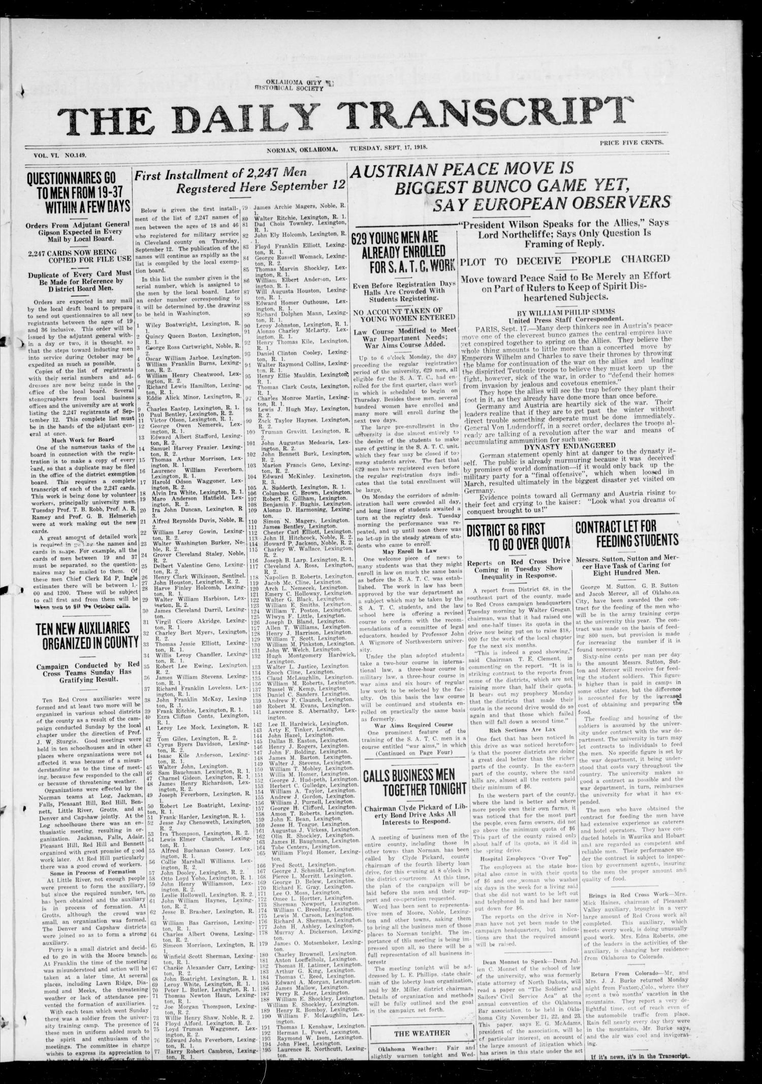 The Daily Transcript  (Norman, Okla.), Vol. 6, No. 149, Ed. 1 Tuesday, September 17, 1918                                                                                                      [Sequence #]: 1 of 4