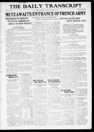 Primary view of object titled 'The Daily Transcript  (Norman, Okla.), Vol. 6, No. 203, Ed. 1 Tuesday, November 19, 1918'.
