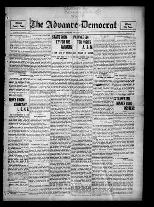 Primary view of object titled 'The Advance--Democrat (Stillwater, Okla.), Vol. 24, No. 45, Ed. 1 Thursday, July 6, 1916'.