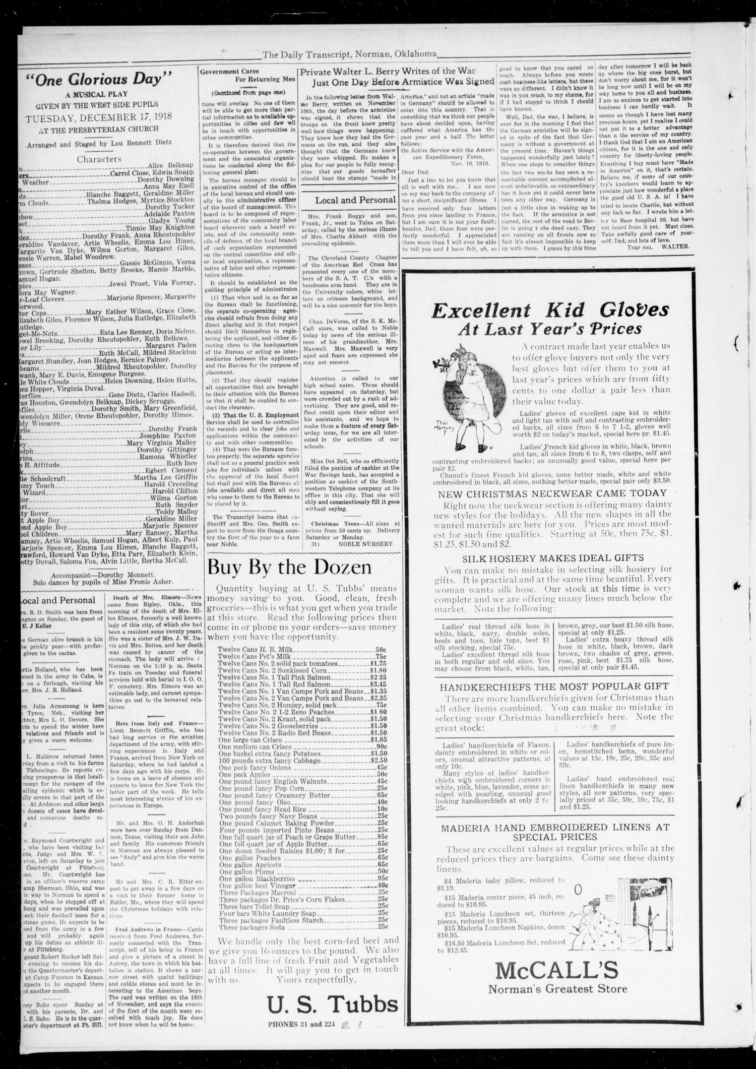The Daily Transcript  (Norman, Okla.), Vol. 6, No. 224, Ed. 1 Monday, December 16, 1918                                                                                                      [Sequence #]: 4 of 4