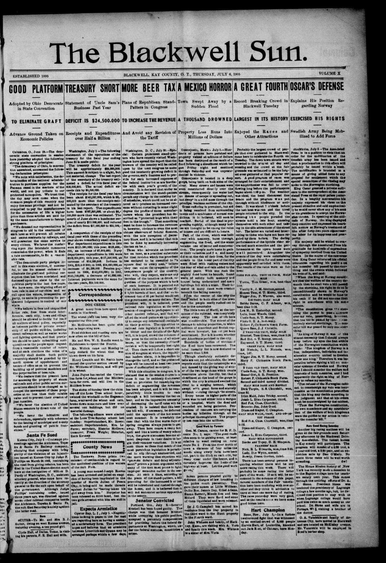 The Blackwell Sun. (Blackwell, Okla. Terr.), Vol. 11, No. 27, Ed. 1 Thursday, July 6, 1905                                                                                                      [Sequence #]: 1 of 8