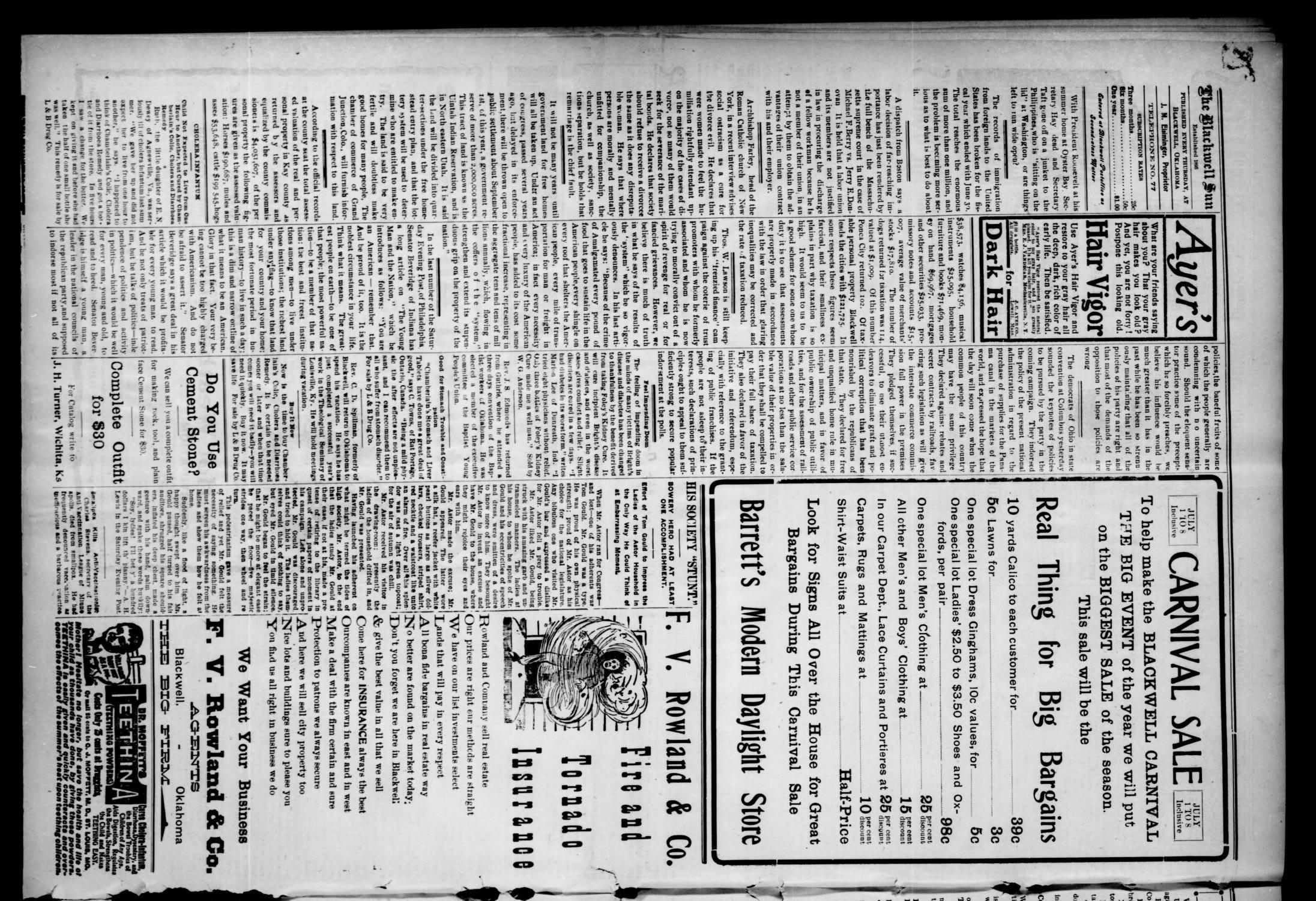 The Blackwell Sun. (Blackwell, Okla. Terr.), Vol. 11, No. 27, Ed. 1 Thursday, July 6, 1905                                                                                                      [Sequence #]: 4 of 8