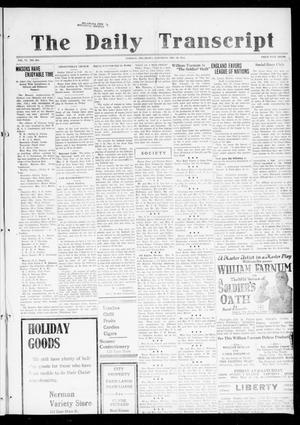 Primary view of object titled 'The Daily Transcript  (Norman, Okla.), Vol. 6, No. 234, Ed. 1 Saturday, December 28, 1918'.
