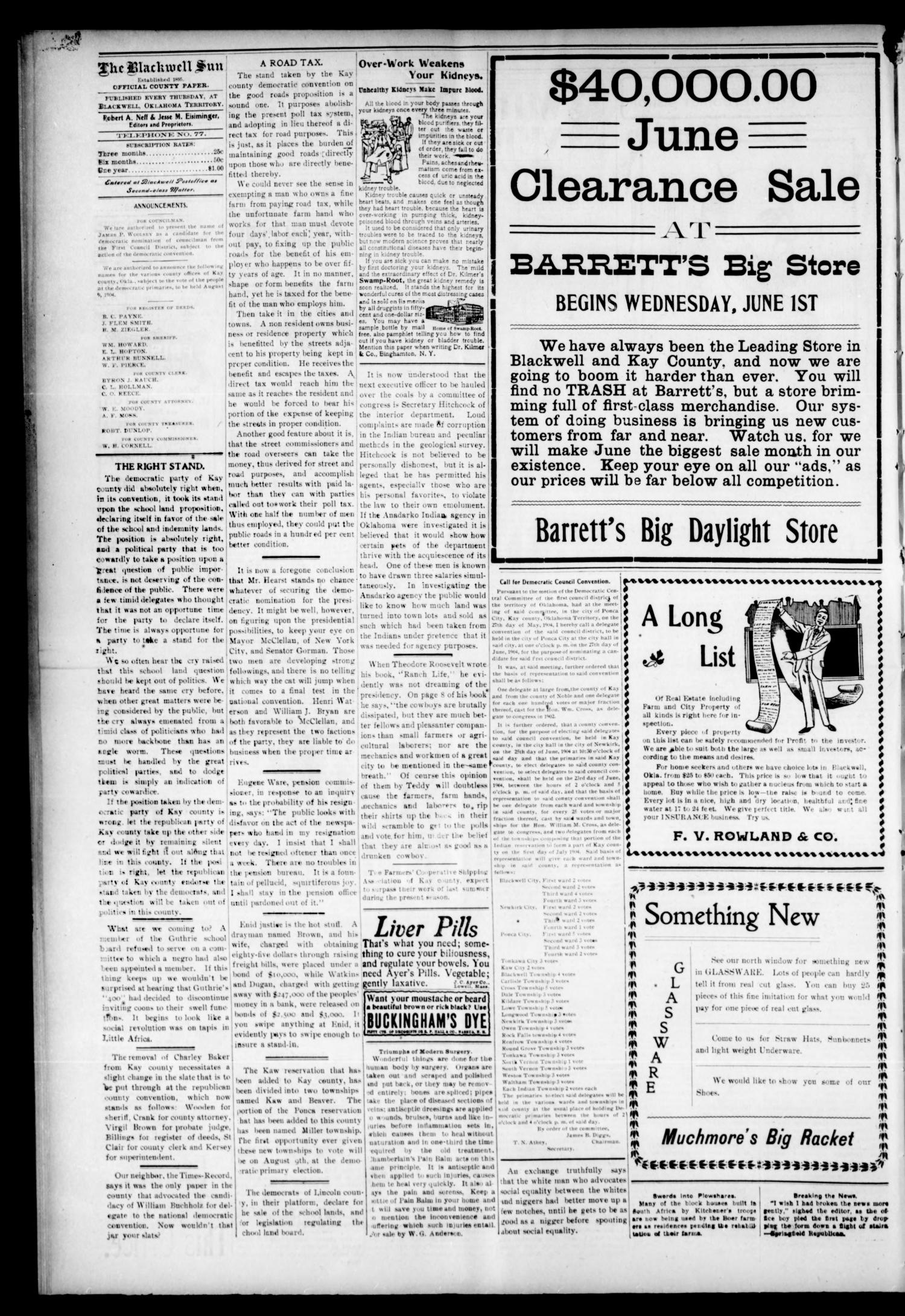 The Blackwell Sun. (Blackwell, Okla. Terr.), Vol. 9, No. 52, Ed. 1 Thursday, June 2, 1904                                                                                                      [Sequence #]: 4 of 8