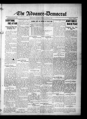 Primary view of object titled 'The Advance--Democrat (Stillwater, Okla.), Vol. 24, No. 1, Ed. 1 Thursday, September 2, 1915'.