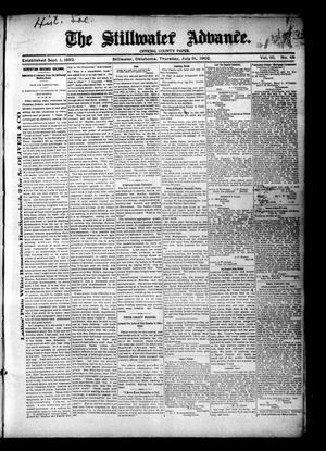 Primary view of object titled 'The Stillwater Advance. (Stillwater, Okla.), Vol. 10, No. 48, Ed. 1 Thursday, July 31, 1902'.