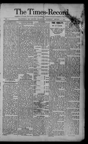 Primary view of object titled 'The Times-Record. (Blackwell, Okla.), Vol. 7, No. 17, Ed. 1 Thursday, January 11, 1900'.