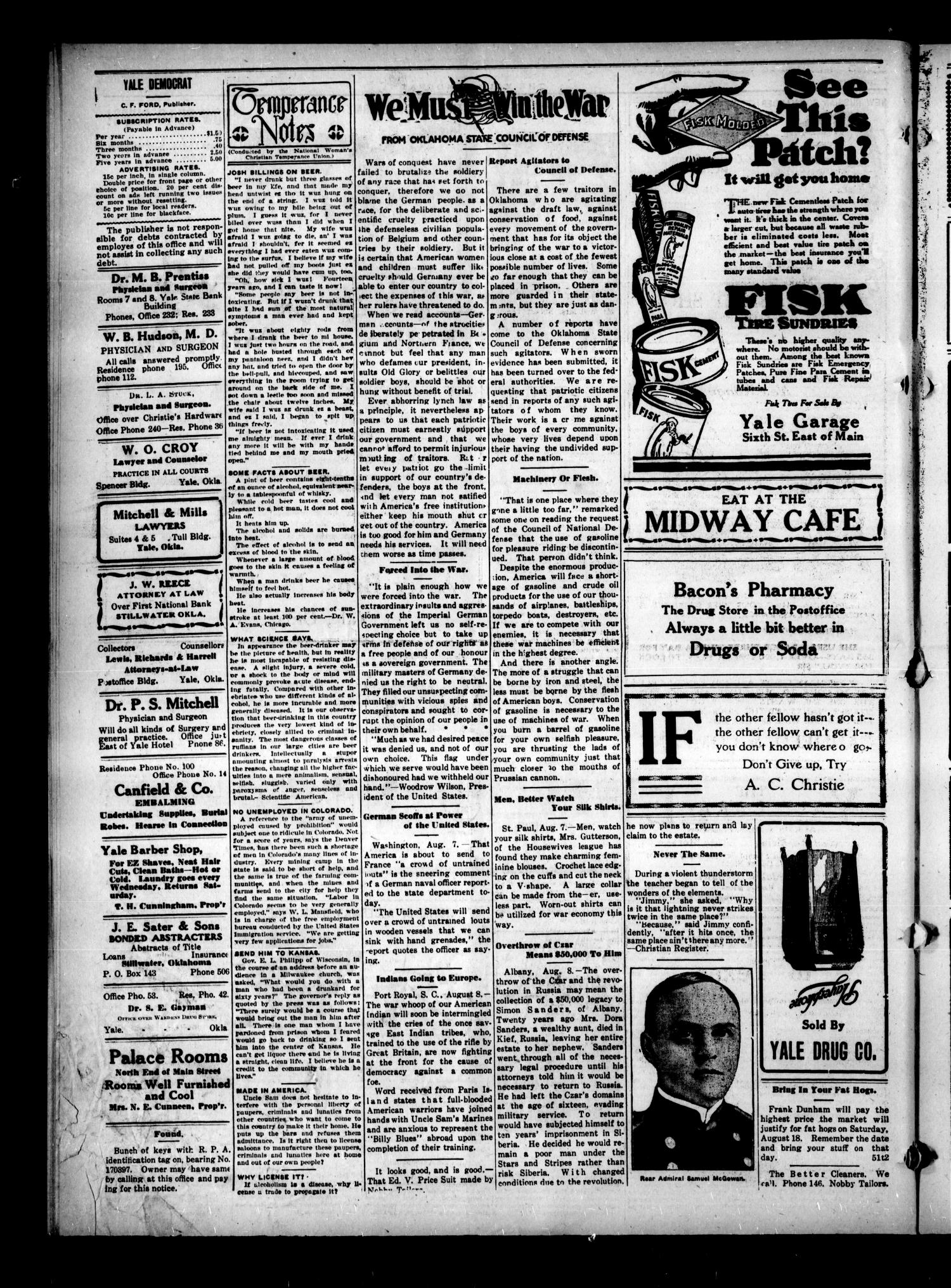 Yale Democrat (Yale, Okla.), Vol. 9, No. 51, Ed. 1 Thursday, August 9, 1917                                                                                                      [Sequence #]: 4 of 8