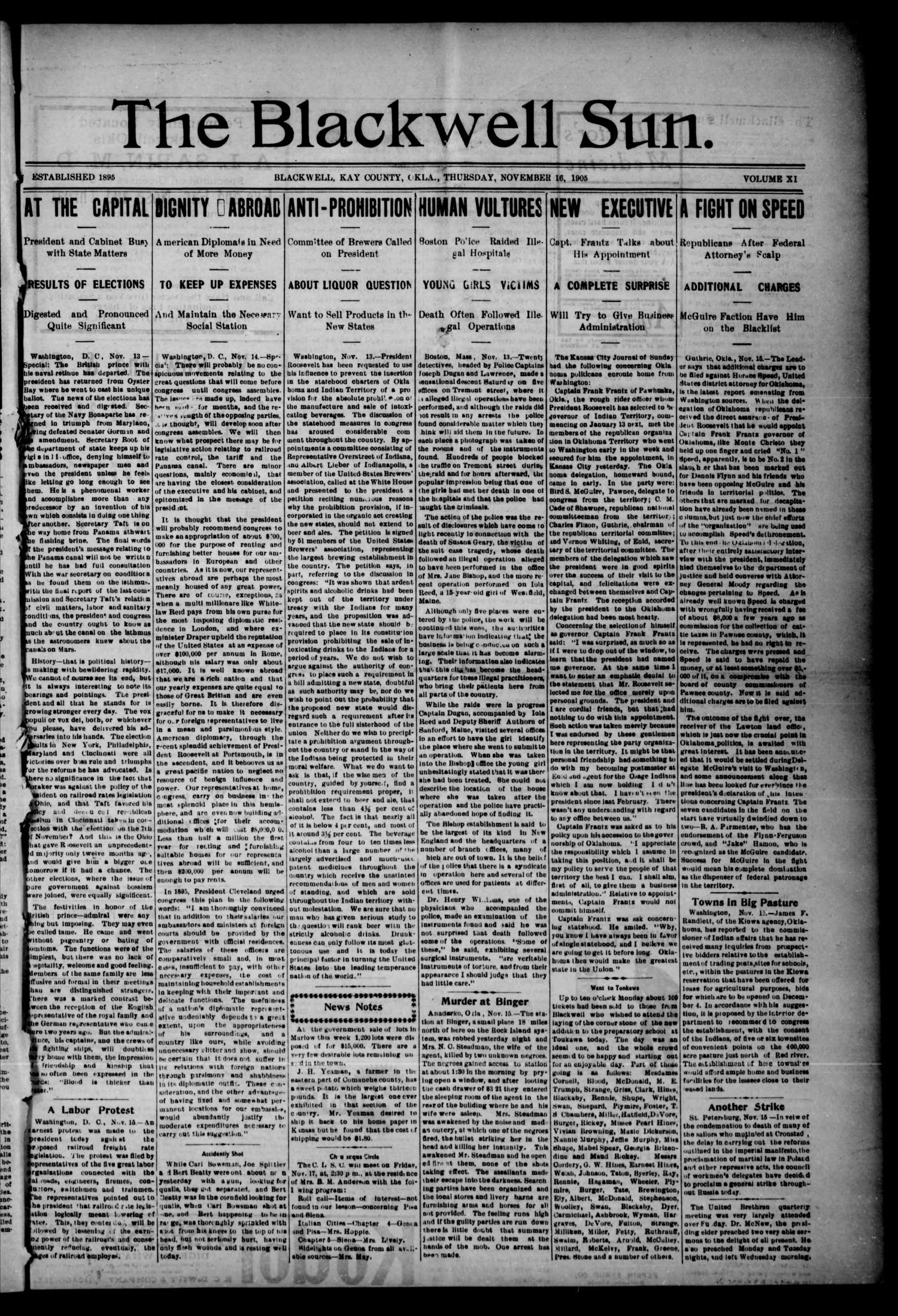 The Blackwell Sun. (Blackwell, Okla. Terr.), Vol. 11, No. 46, Ed. 1 Thursday, November 16, 1905                                                                                                      [Sequence #]: 1 of 2