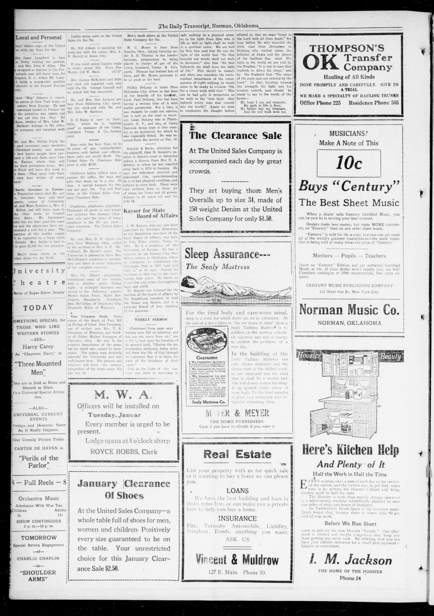 The Daily Transcript  (Norman, Okla.), Vol. 6, No. 252, Ed. 1 Monday, January 20, 1919                                                                                                      [Sequence #]: 4 of 4
