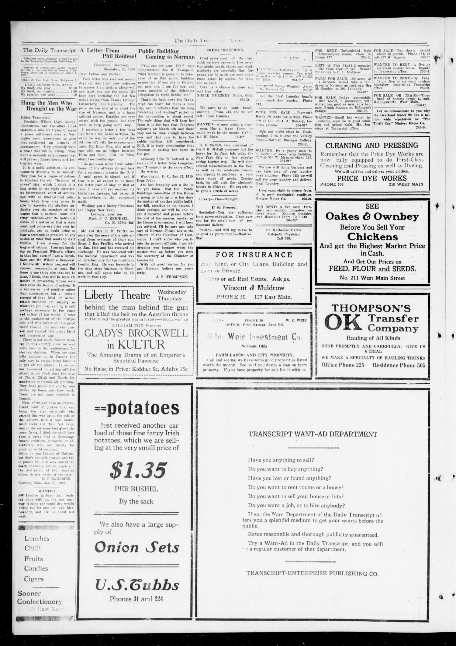 The Daily Transcript  (Norman, Okla.), Vol. 6, No. 264, Ed. 1 Monday, February 3, 1919                                                                                                      [Sequence #]: 2 of 6