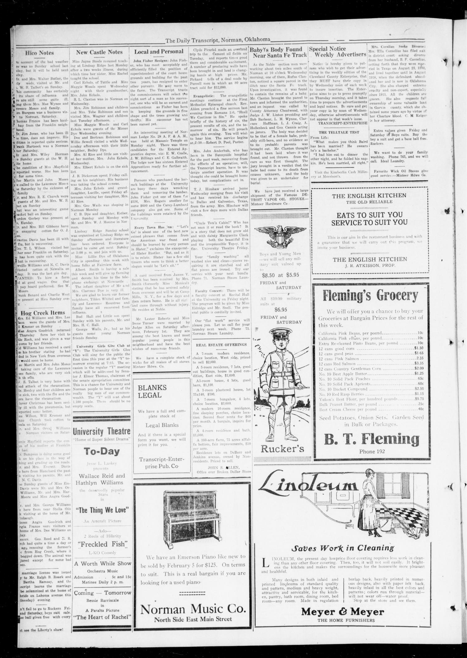 The Daily Transcript  (Norman, Okla.), Vol. 6, No. 266, Ed. 1 Wednesday, February 5, 1919                                                                                                      [Sequence #]: 4 of 4