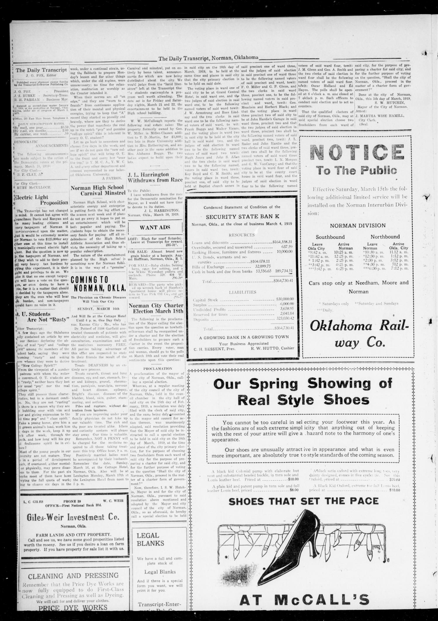 The Daily Transcript  (Norman, Okla.), Vol. 6, No. 296, Ed. 1 Wednesday, March 12, 1919                                                                                                      [Sequence #]: 2 of 4