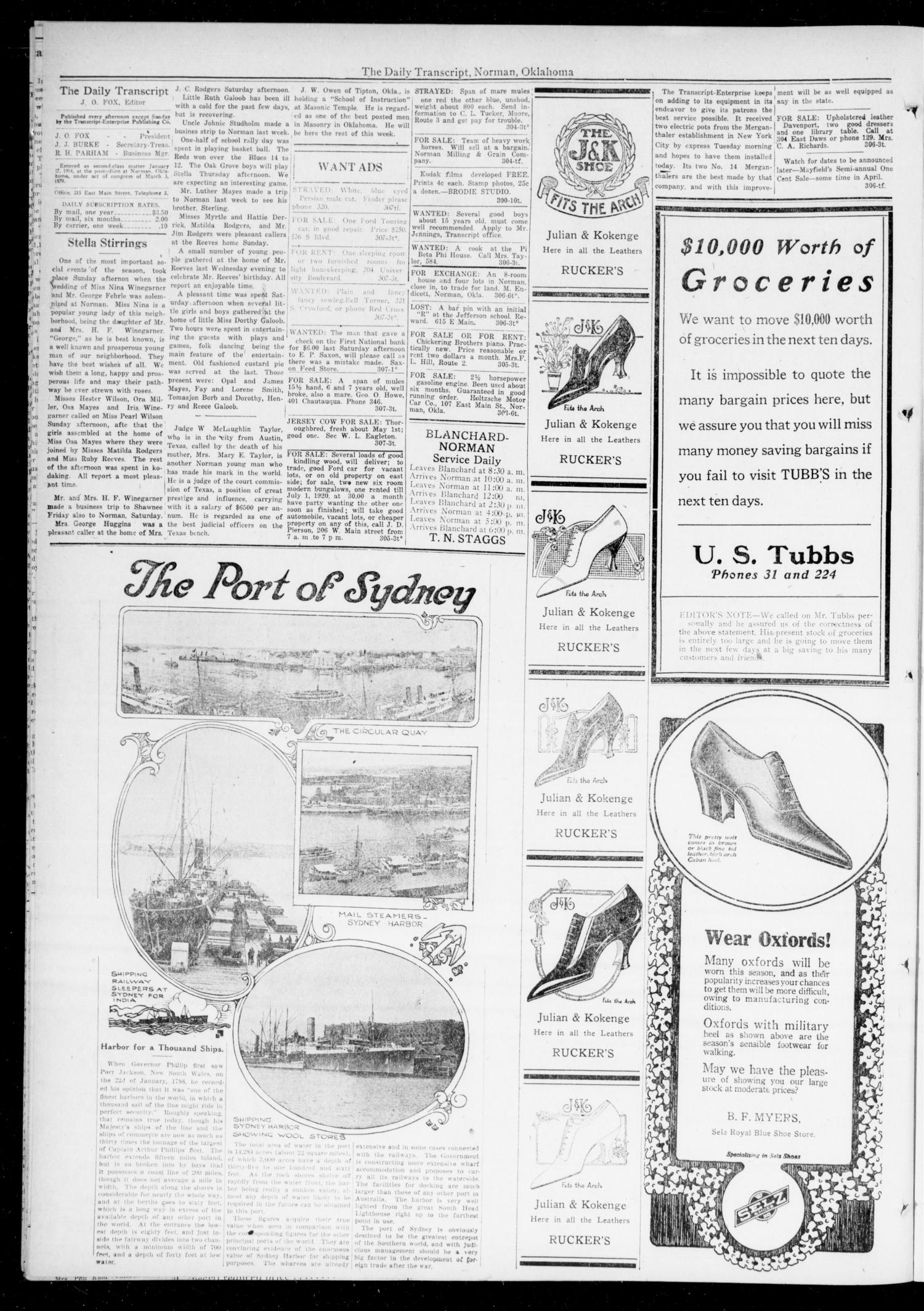 The Daily Transcript  (Norman, Okla.), Vol. 6, No. 307, Ed. 1 Tuesday, March 25, 1919                                                                                                      [Sequence #]: 2 of 4