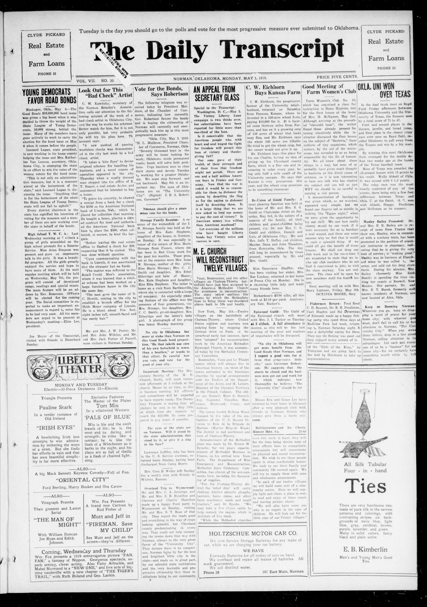 The Daily Transcript  (Norman, Okla.), Vol. 7, No. 30, Ed. 1 Monday, May 5, 1919                                                                                                      [Sequence #]: 1 of 4