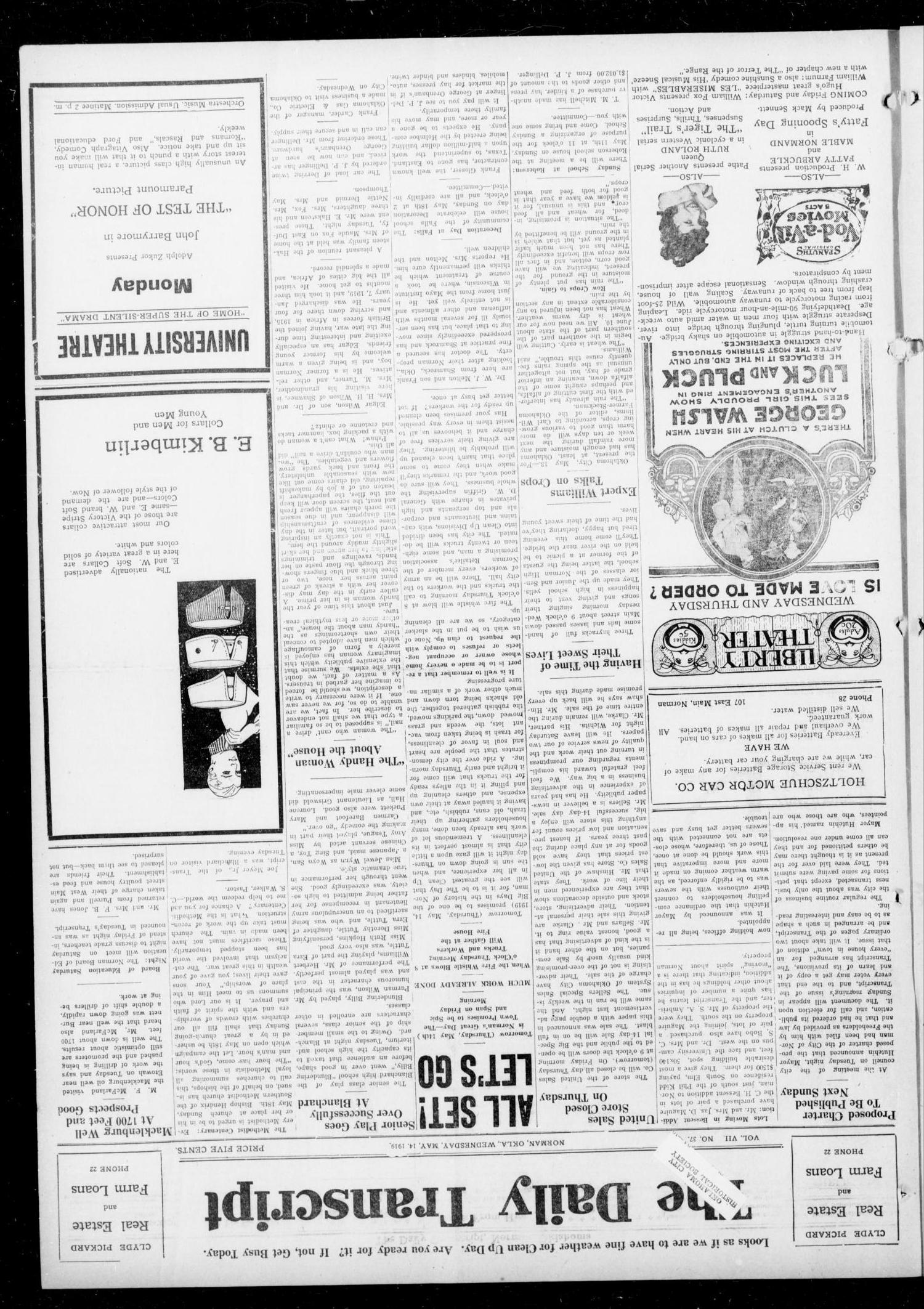The Daily Transcript  (Norman, Okla.), Vol. 7, No. 37, Ed. 1 Wednesday, May 14, 1919                                                                                                      [Sequence #]: 1 of 4