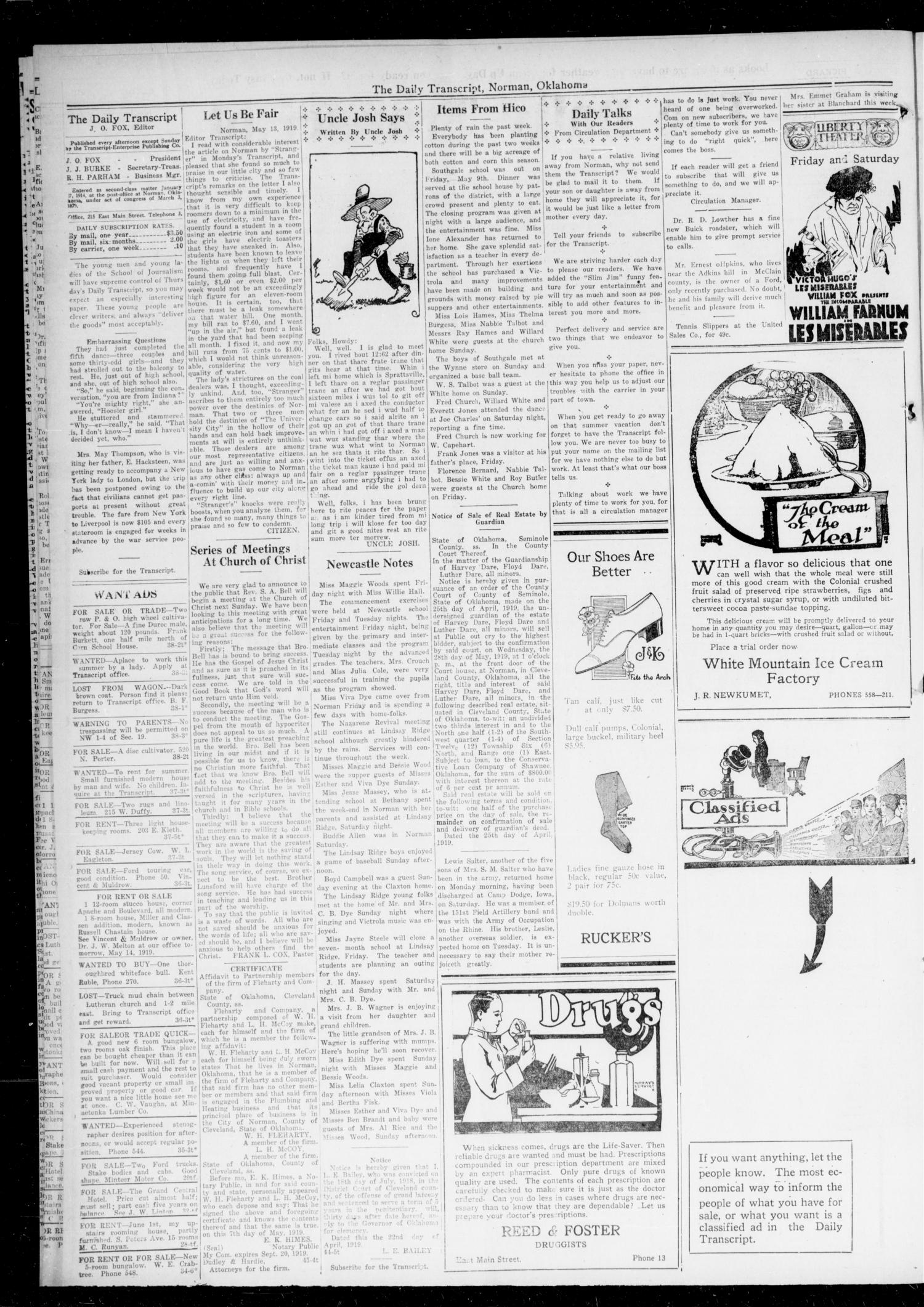 The Daily Transcript  (Norman, Okla.), Vol. 7, No. 37, Ed. 1 Wednesday, May 14, 1919                                                                                                      [Sequence #]: 2 of 4