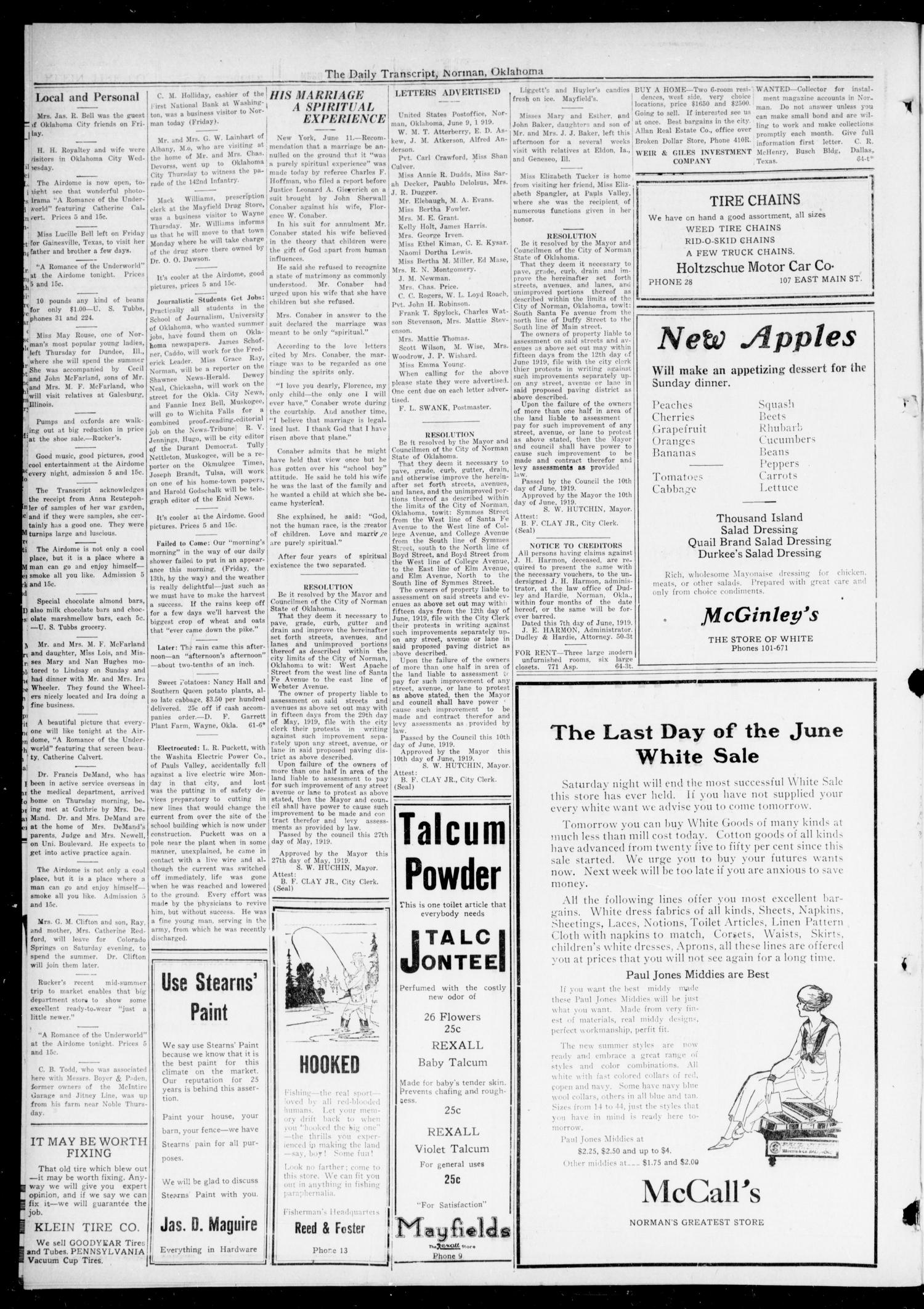 The Daily Transcript  (Norman, Okla.), Vol. 7, No. 64, Ed. 1 Friday, June 13, 1919                                                                                                      [Sequence #]: 4 of 4