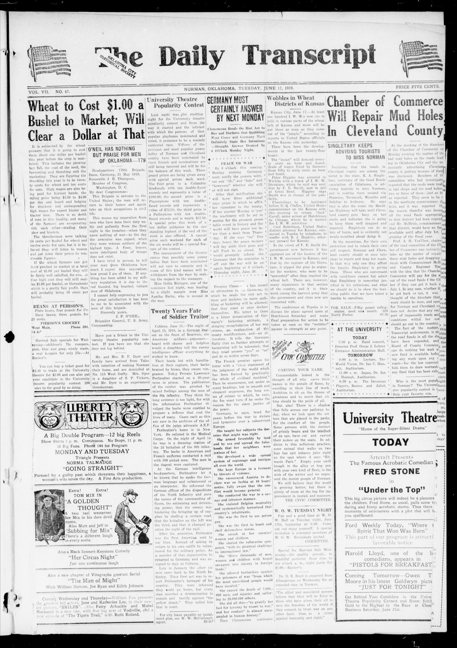 The Daily Transcript  (Norman, Okla.), Vol. 7, No. 67, Ed. 1 Tuesday, June 17, 1919                                                                                                      [Sequence #]: 1 of 4