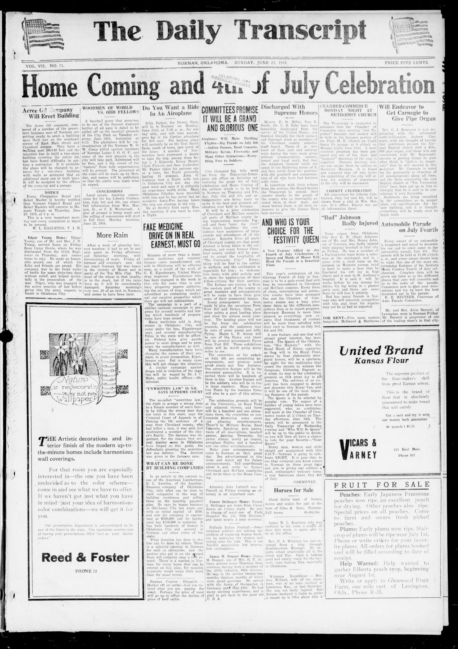 The Daily Transcript  (Norman, Okla.), Vol. 7, No. 71, Ed. 1 Sunday, June 22, 1919                                                                                                      [Sequence #]: 1 of 8