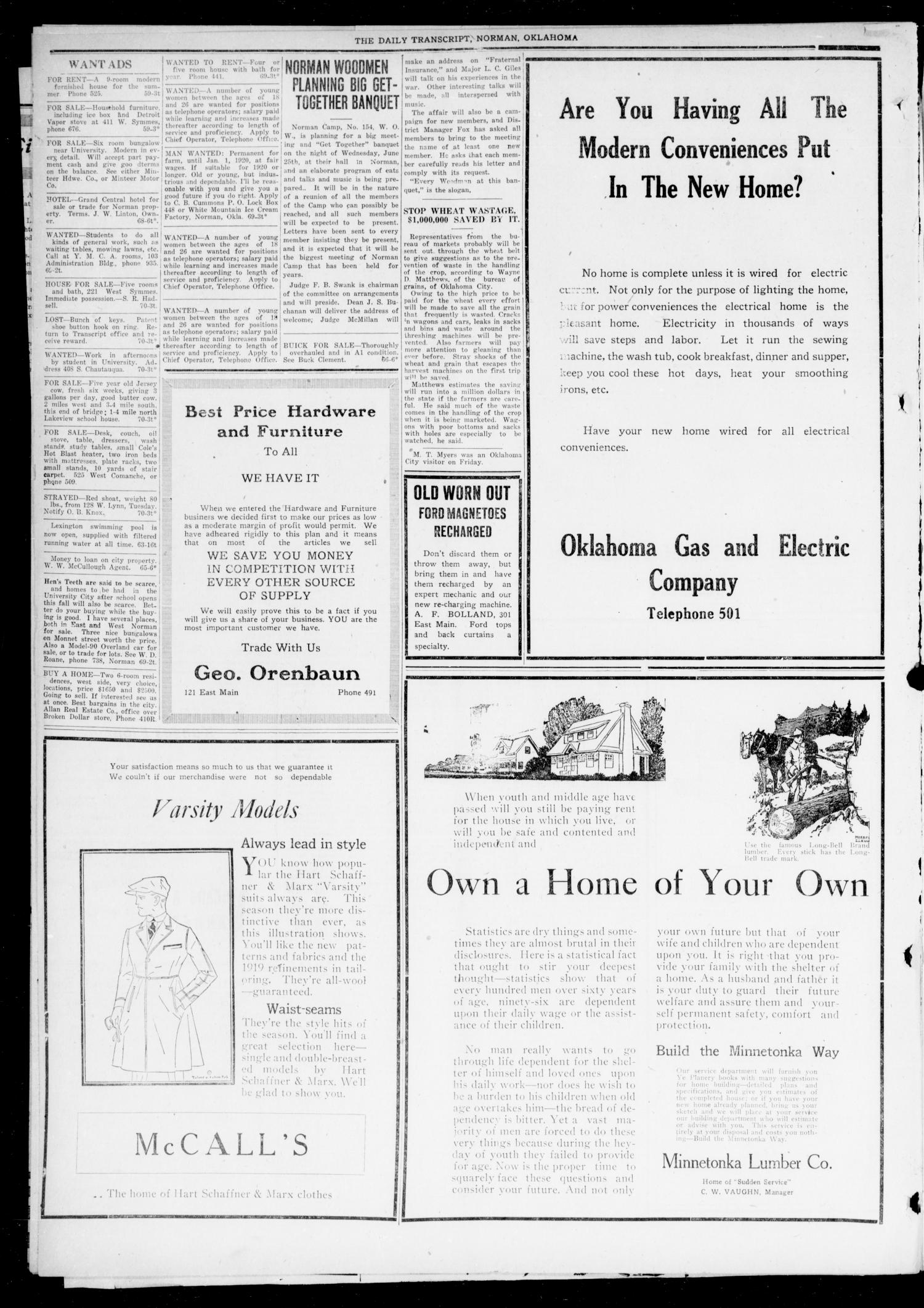 The Daily Transcript  (Norman, Okla.), Vol. 7, No. 71, Ed. 1 Sunday, June 22, 1919                                                                                                      [Sequence #]: 2 of 8