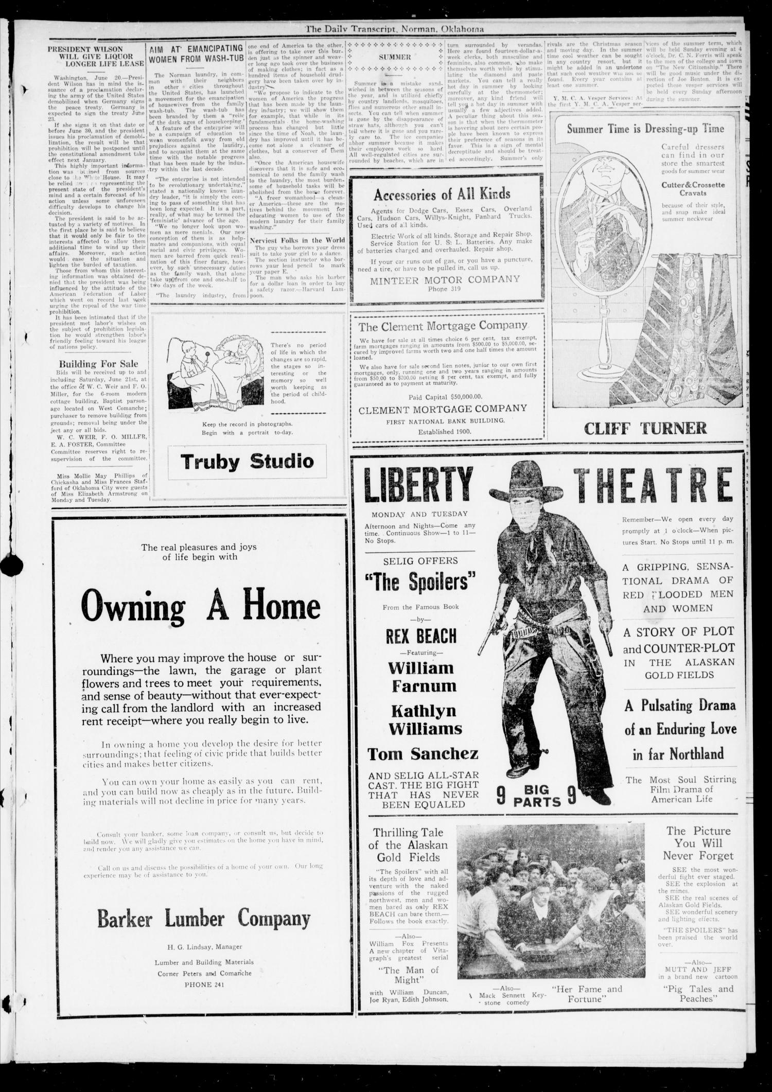 The Daily Transcript  (Norman, Okla.), Vol. 7, No. 71, Ed. 1 Sunday, June 22, 1919                                                                                                      [Sequence #]: 3 of 8